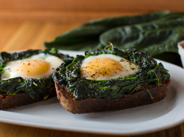 Egg and spinach bruschetta