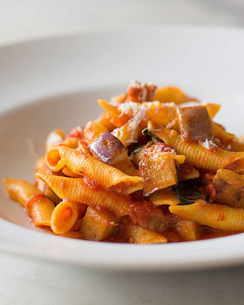 Garganelli with eggplant and marjoram