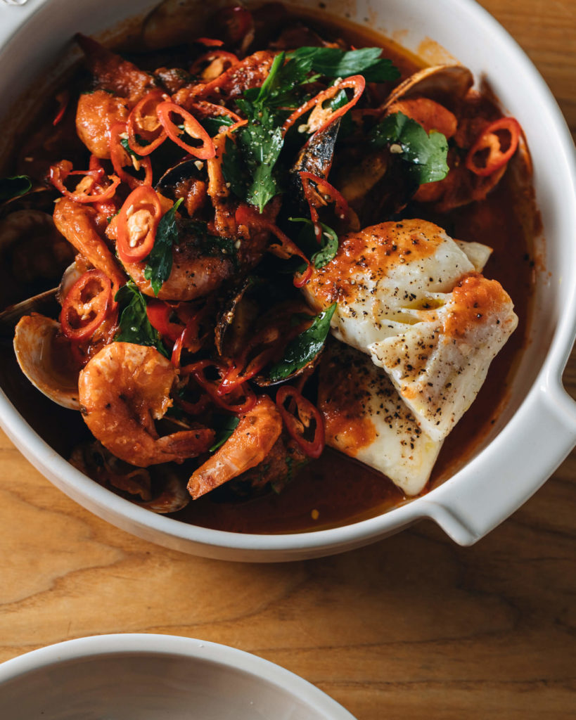 Cioppino (seafood soup)