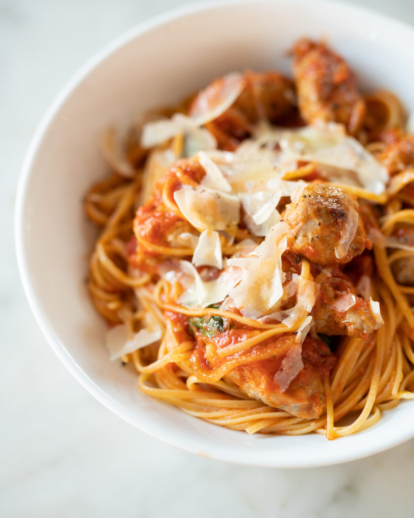 Linguine with sausage meatballs