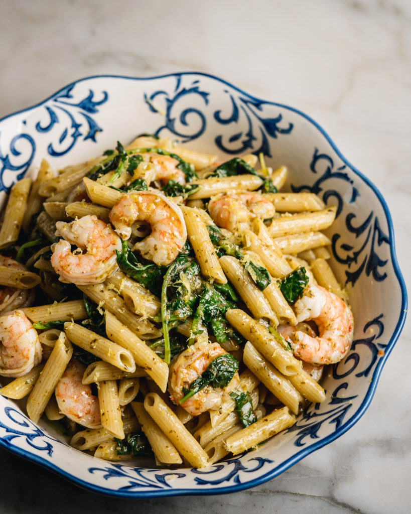 Penne with shrimp and basil pesto