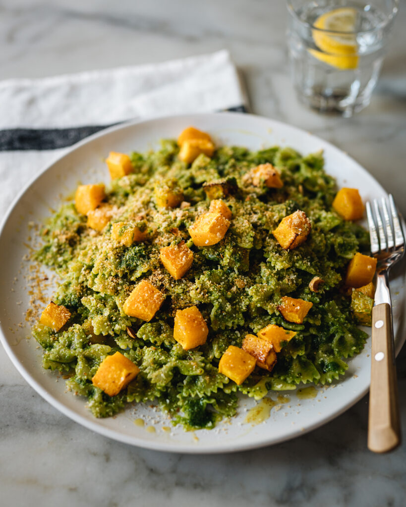 farfalle with kale pesto and roasted squash