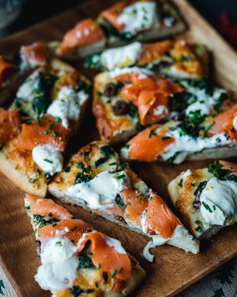 Smoked salmon pizza appetizer